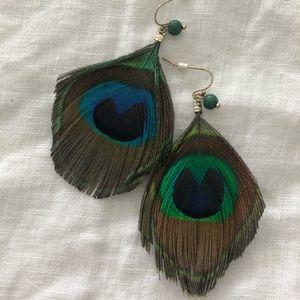 Boho peacock feather earrings